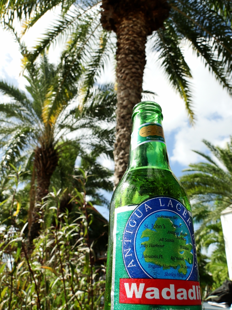 Wadadli Beer Under a Palm Tree