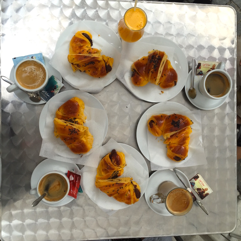 Breakfast at a Portuguese bakery in Porto, Portugal
