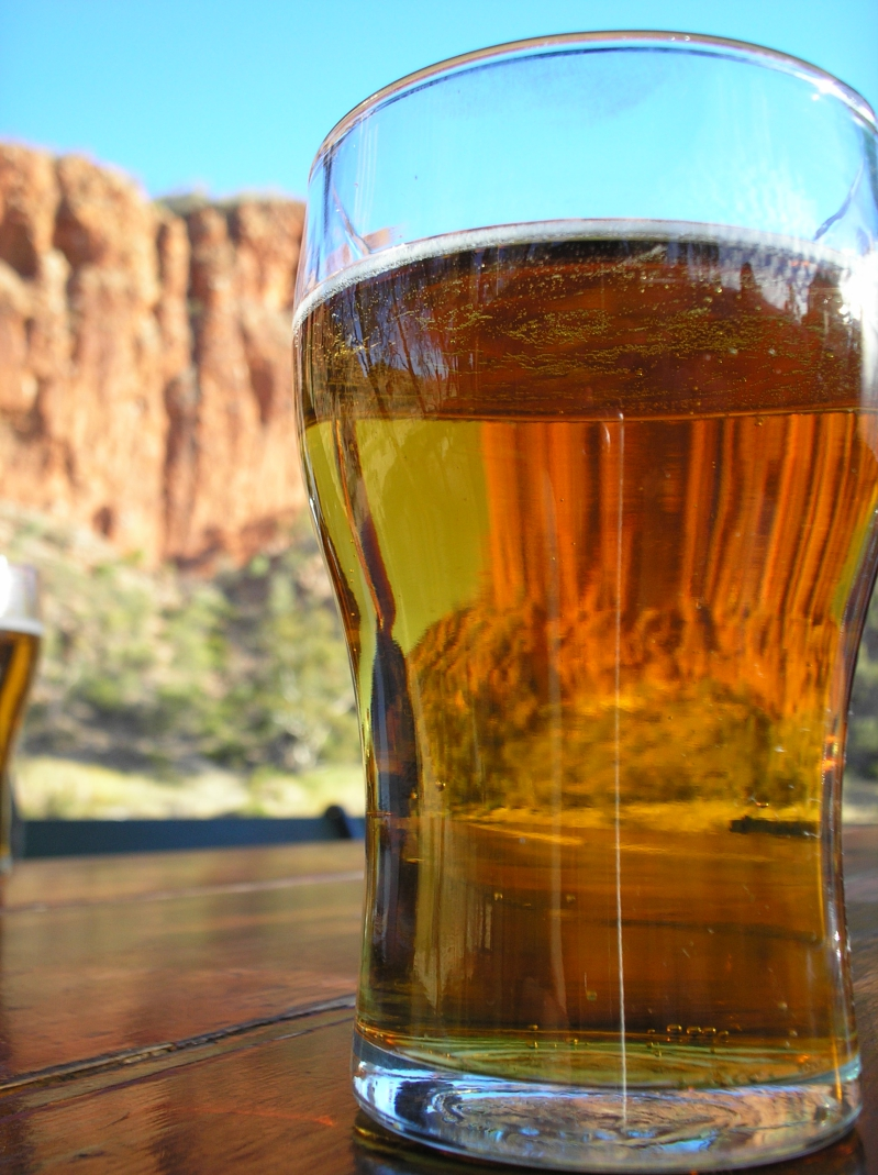Enjoying A Beer In Glen Helen Gorge Of The West MacDonnell Range